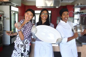 Connie Tong, Salmina Sabah, and Pradheepa Simonpillai in the Eco-Food Hub Kitchen