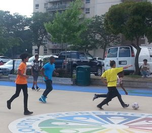 KGO Kids/Toronto Police soccer match at The Storefront Sports Court